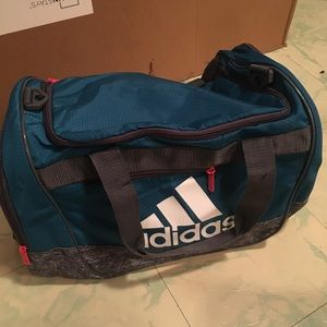 Blue pink and grey Adidas sports bag